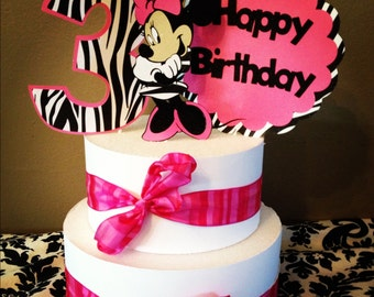 Minnie Mouse Cake Topper- Pink and Zebra 3 piece- Free to Personalize - with Glitter