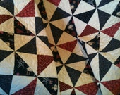 "Primitive Country Chic and Americana Blend Beautifully In This 44"" X 53"" Quilt"