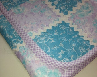 "Soft Aquas and Pastel Purple Combine Beautifully In This 27"" X 31"" Carseat/Stroller or Doll Quilt"