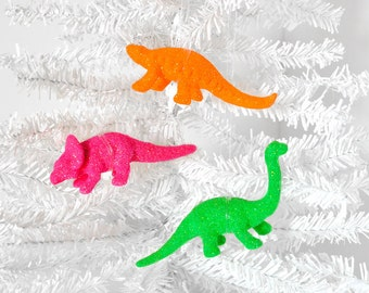 NEON Dinosaur Ornaments Home Decorations in Fluorescent Glitter. Great Birthday Party or Wedding Favors. Home Decor. Gift Set of 3 Ornaments
