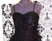 Little Black Dress / Sparkle Sequined Peplum / Party / Vintage / Evening Dress - EarlsBizarre
