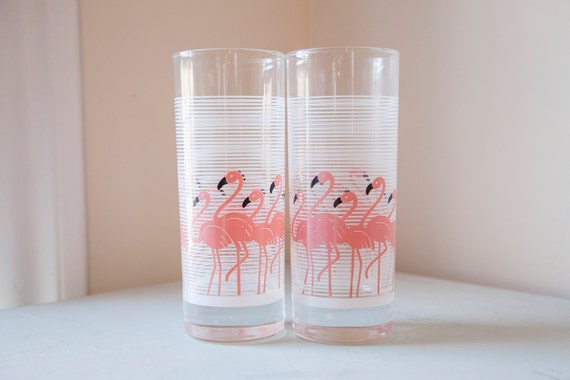 Vintage Pink Flamingos Tumblers Cocktail Glasses White