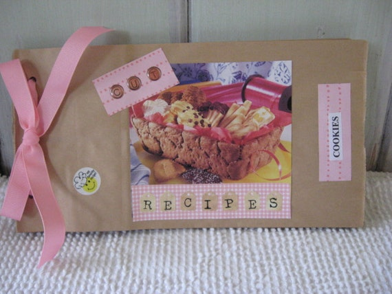 CLEARANCE SALE  Recipe Sack Organizer made from Paper Sacks Pink Ribbon Kitchen Organizer