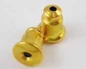 s00252 20 pair, Brass Alloy Finding, stud earring back nut , Golden