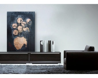 Large Abstract  Floral Painting - Black with Gold Leaf  Acrylic on Canvas - Ready to Hang