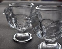Pair of Vintage Glass Chicken Design Egg Cups