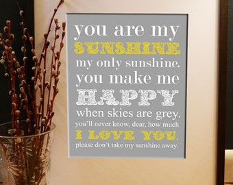 You Are My Sunshine Poster - Instant Download - 8x10 Printable PDF File