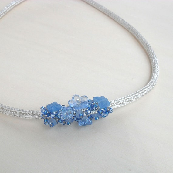 Viking Knit Cluster Necklace Wire Wrapped Blue Silver Plated Flower Butterflies Floral Glass Beads Jewelry Handmade Something Blue