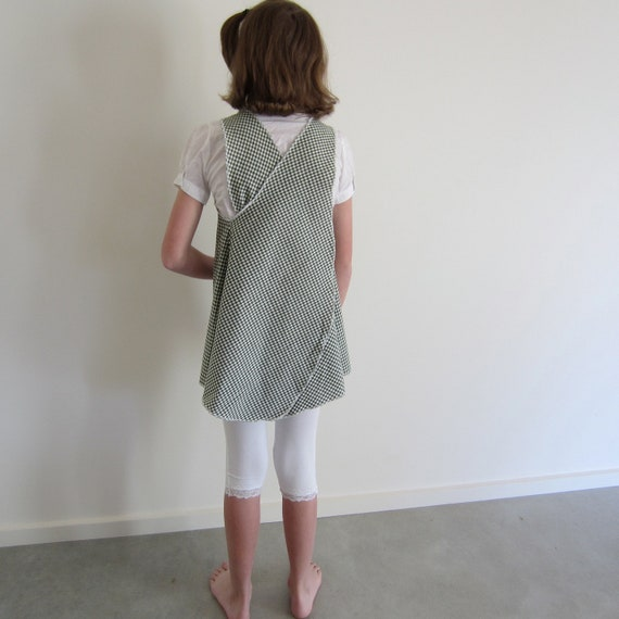 Girls upcycled cross over tunic top, green and white with beehive embroidery, size 10 12 RiseNShine, apron shirt, ecofriendly tween fashion