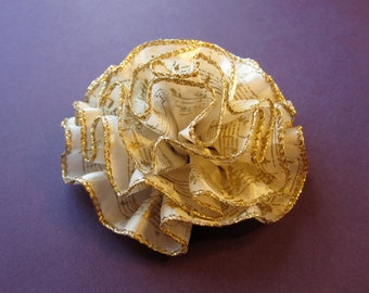 Ivory and Gold Flower Pin or Hair Accessory - Ruffled Fabric Flower with Music Notes