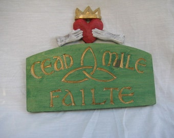Cead Mile Failte with Claddah & Celtic Symbol**