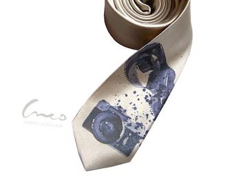 Retro vintage camera tie. Print on narrow necktie - present for men