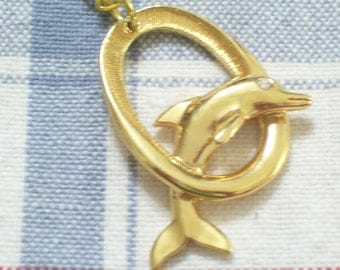 Vintage Goldtone Rhinestone Dolphin Porpoise Nautical Pendant Necklace