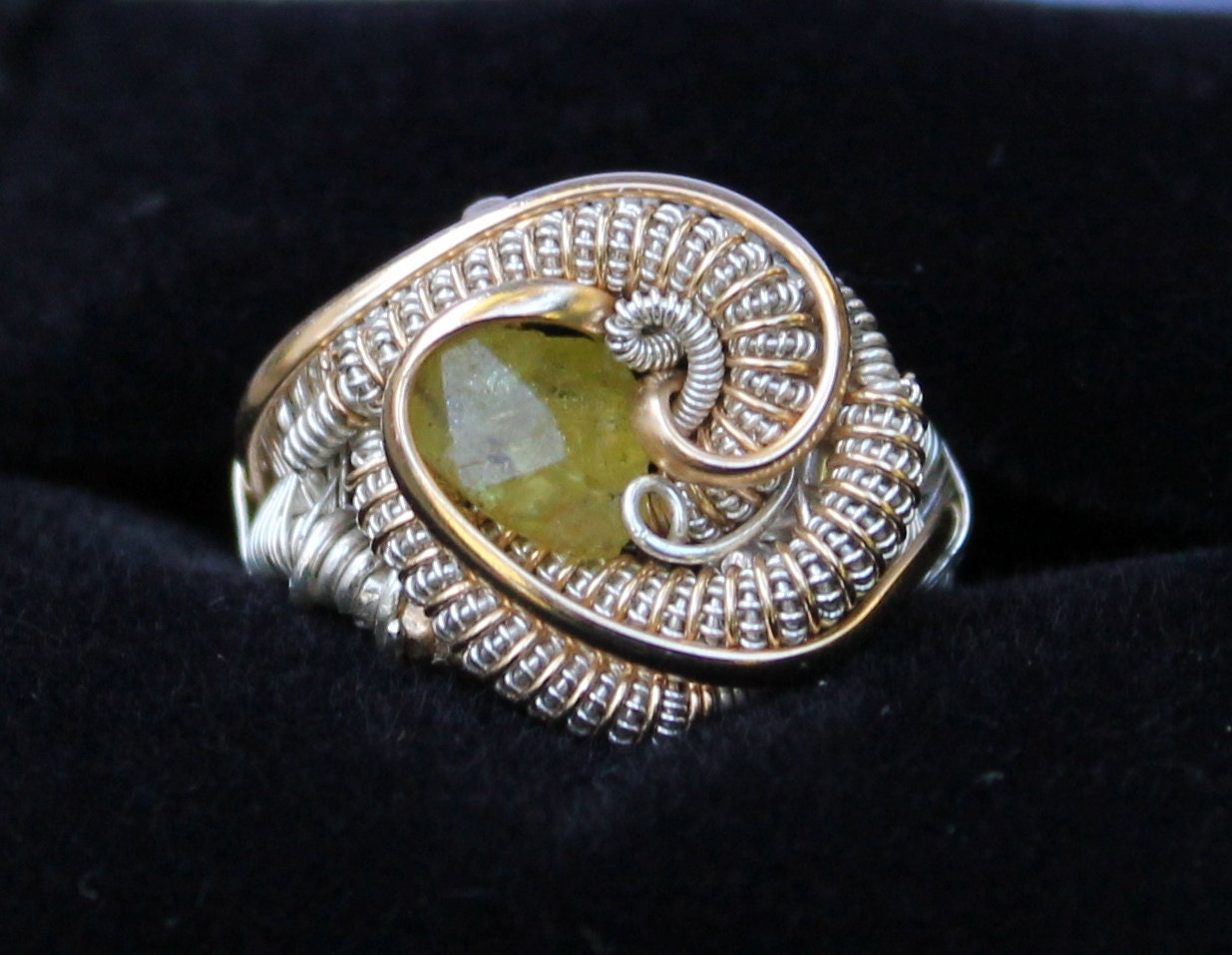 Chrysoberyl Wire Wrapped ring // heady wire wrap ring // size