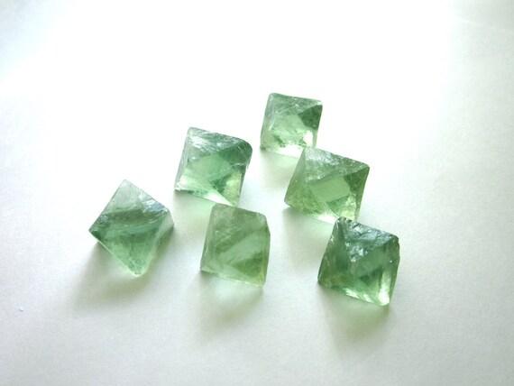 Fluorite Octahedrons Blue Green Natural Raw Rough Bulk Lot of 6 Stones (Lot No. 887)