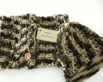 Neckwarmer Brown Tan Black multi Color with Hat Crochet Scarf
