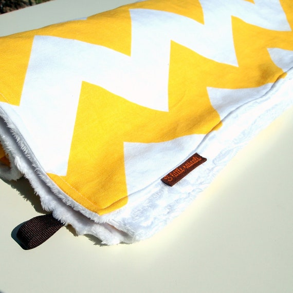 chevron baby blanket minky yellow white