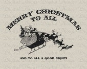 Merry Christmas Santa Sleigh Reindeer Typography Holiday Decor Printable Digital Download to Iron on Transfer Fabric Pillow Tea Towel DT1203