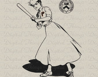 Woman Baseball Player Vintage Sports Art Wall Decor Art Printable Digital Download for Iron on Transfer Totes Pillows Tea Towels DT067
