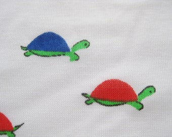 Vintage 50s 60s Cotton Jersey Fabric Childrens Novelty Turtle Print Juvenile Remnant Yardage
