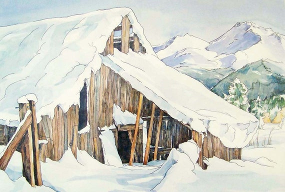 The Winter Barn print - snow white mountain antique neutral wood painting
