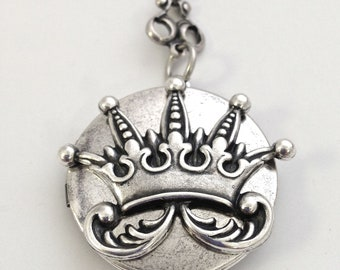 Vintage Silver Crown Locket Necklace, 24""