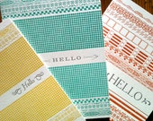 Set of three - Pattern Hellos- Letterpress Notecards