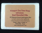 TEA TREE w Lemon Soap- Handmade by Noopys-Big 6 oz -Great for oily problem skin-Natural