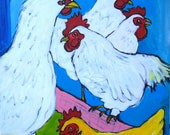 "reserved do not buy Chickens, 16"" X 20"" original folk art painting on canvas, 5 chickens, farm, landscape, Americana, chicken"