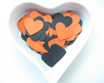 Confetti - 200 CARDBOARD hearts - Black - Orange - Halloween party  - Decor - Home decor - Spring - Summer