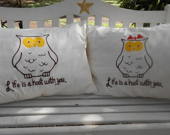 Hooting Owls with Cute Quote, Hand Painted, Couples Gift Ideas,  Standard Pillowcases, Bedroom Decor