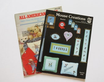 Animals, Counted Cross Stitch, 2 Booklets, Sports Bears, Sports Mice, Two Booklets, Plaid Booklet, Green Apple Company, Embroidery,