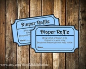INSTANT DOWNLOAD- Blue Printable Baby Shower Diaper Raffle Ticket