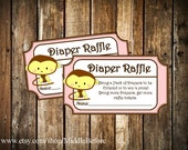 INSTANT DOWNLOAD- Pink Monkey Printable Baby Shower Diaper Raffle Ticket