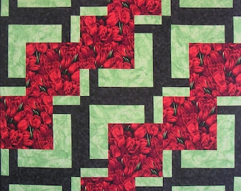 Red Tulips Quilted Wall Hanging or Topper - 55in X 72in