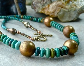 Graduated Blue Green Turquoise Rondelles with Vintage Brass Beads Unique Earthy Artisan Necklace