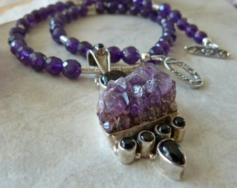 Large Raw Amethyst Crystal Cluster set in Sterling Silver Pendant - Faceted Amethyst Beads - Royal Purple Artisan Necklace