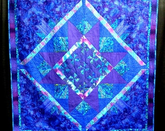 Large QUILT in blue,purple,teal,turquoise.