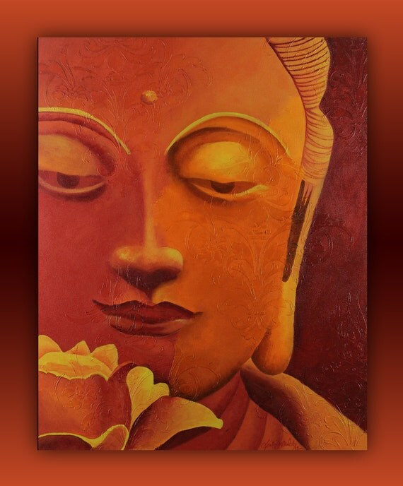 Original Bright Red, Orange, Yellow Buddha Painting - Face with Flower and Decorative Texture 24x30