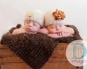 NEWborn photography prop-very soft fuzzy baby blanket in brown.....photography prop or baby shower gift aprx. 2x2 feet