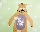 Hello Darling Bear - Articulated Art Paper Doll by Dubrovskaya. Handmade and hand painted