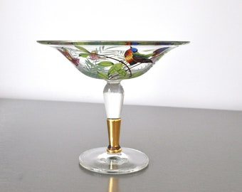 Pedestal Dish Hand Painted Reverse Painted Gilded Stem and Rim Bird Flower Christmas