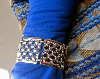 Wide Bracelet Oversized Link Medieval Style Lattice Work Platinum White Gold Tone Vintage Mid Century 50s Studded Rocker