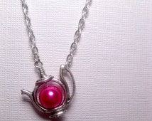 Kawaii Teapot Necklace - Dragon Pink Pearl - Silver Frame