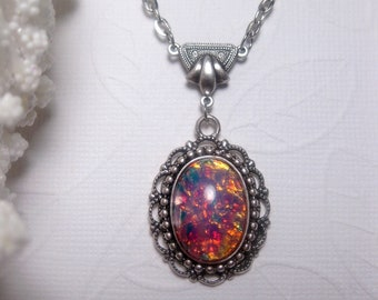 Opal Necklace - Art Nouveau - Victorian - Pink