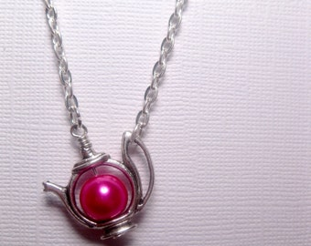 Kawaii Teapot Necklace - Dragon Pink Pearl - Silver Frame