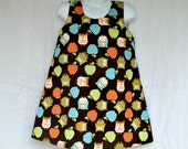 Girls A Line Dress, 3T only, Brown Corduroy, Owls and Apples, Children Holiday Clothing, Custom Boutique
