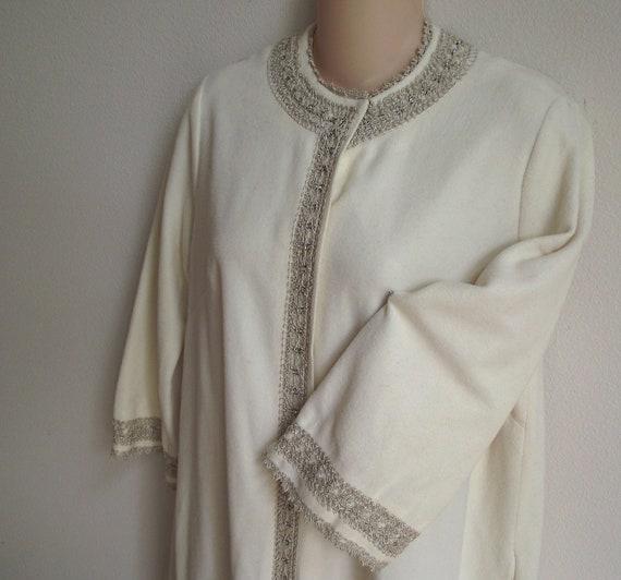 Vintage Robe Coat rhinestone silver braid trim on ivory - lingerie nightgown