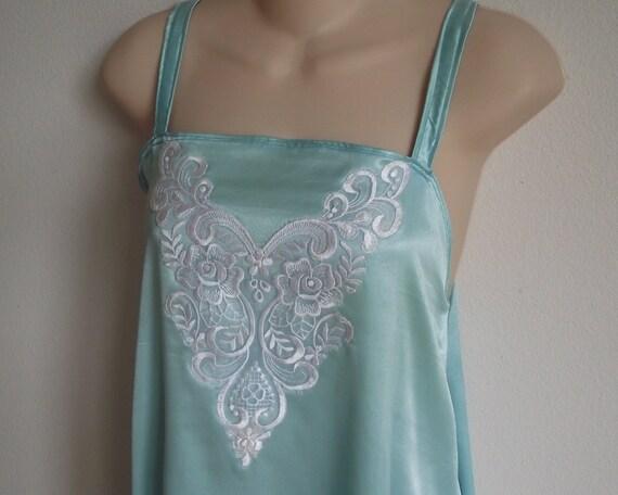 Vintage nightgown aqua chemise teal  lingerie XL