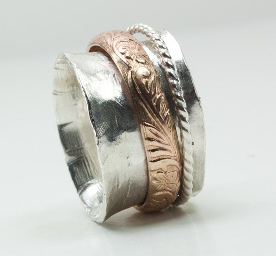 Sterling Silver Spinner Ring Gold Accents Fidget Ring Spinning Ring